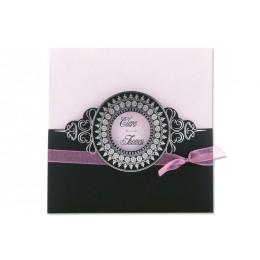 Archivieren - Einladung schwarz/rosa mit silberprägung JX - 1