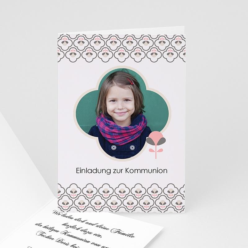 Einladungskarten Kommunion Mädchen Verspieltes Design