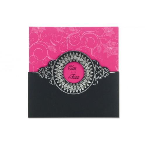 Archivieren - Einladung schwarz/rosa mit ilberprägung 15680