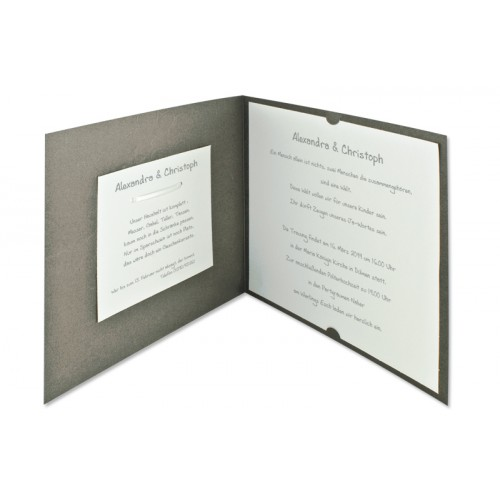 Archivieren - Einladung grau metallic und ecru JX-506 15687 preview