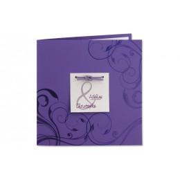 Einladung violett und grau metallic JZ-684
