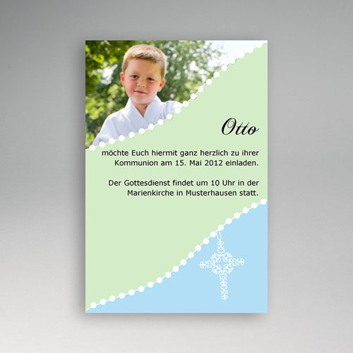 Einladungskarten Kommunion Jungen - Blau 1576 test