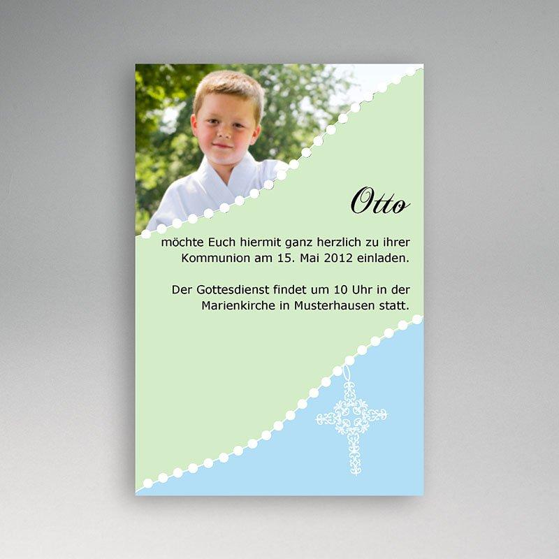 Einladungskarten Kommunion Jungen - Blau 1576 thumb