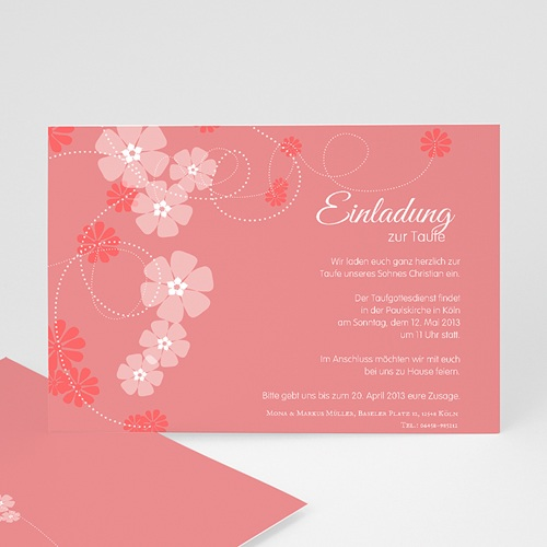 Einladungskarten Taufe Mädchen - Floral Charme 16068