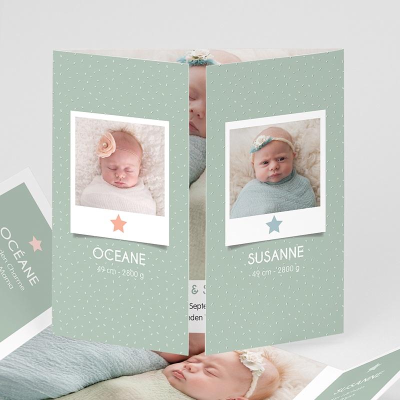 Geburtskarten für Zwillinge Gruene wiese