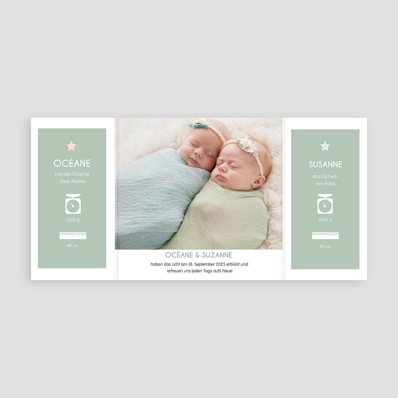 Geburtskarten für Zwillinge Gruene wiese pas cher