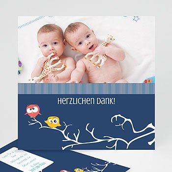 Dankeskarten Geburt Zwillinge - Eule - 1
