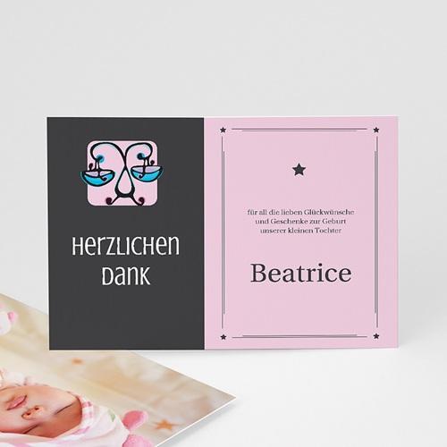 Dankeskarten Geburt Mädchen - Sternzeichen Waage 16114
