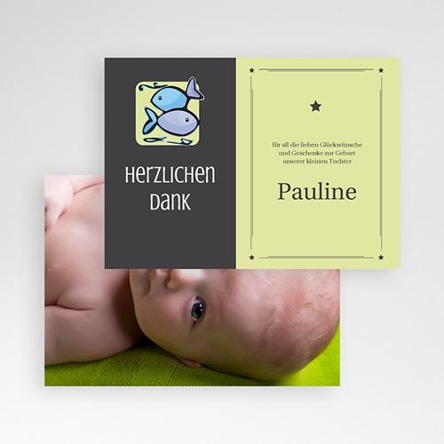Dankeskarten Geburt Mädchen - Sternzeichen Fisch 16119 preview