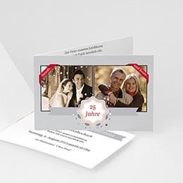 Einlegekarte Anniversaire mariage Damals und Heute