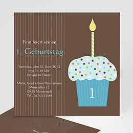 Einlegekarte Kindergeburtstag Cupcake blau