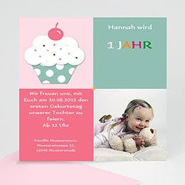 Geburtstagseinladungen Mädchen Cupcake mit Kirsche