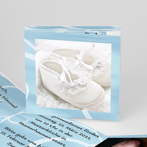Einladungskarten Taufe Mädchen - In blau 16343