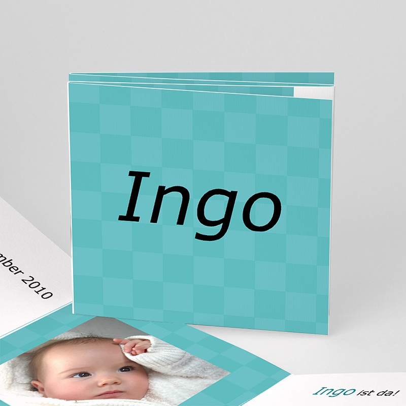 Geburtskarten für Mädchen Karodesign Türkis