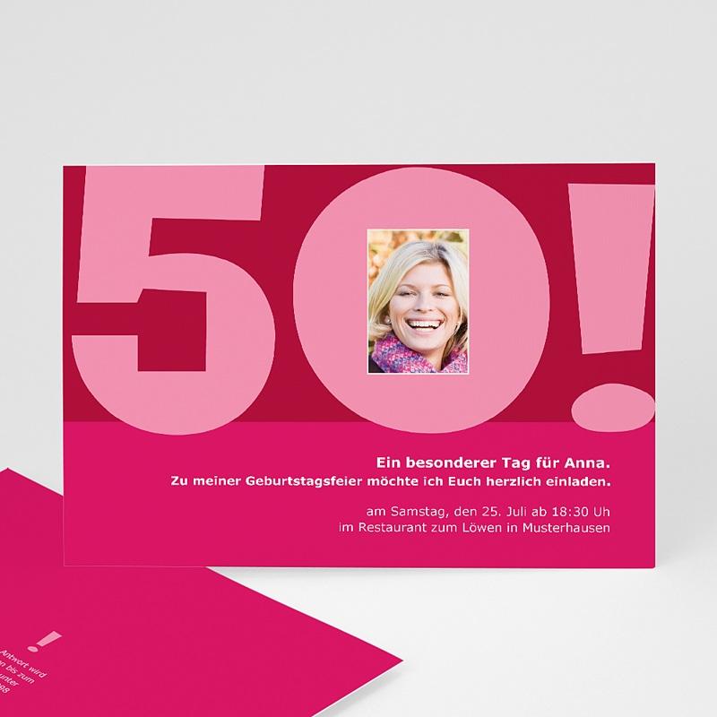 Erwachsener Einladungskarten Geburtstag 50 Jahre rosa