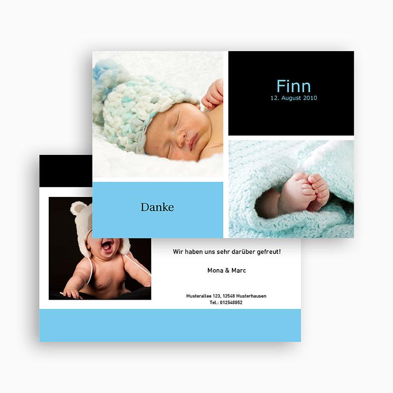 dankeskarten geburt jungen - danksagung drei babyfotos | carteland.de