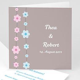 Hochzeitskarte Blumenreihe - 1