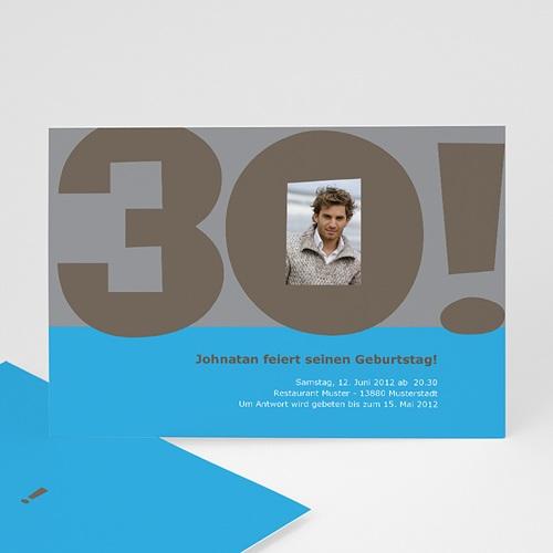 Erwachsener Einladungskarten Geburtstag Grau blau