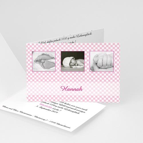 Geburtskarten für Mädchen - Karomuster rosa 16725