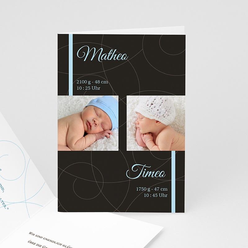 Geburtskarten für Zwillinge Schlicht und klassisch