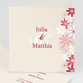 Einladungskarten Hochzeit  - Hochzeitskarten Blumen - 1