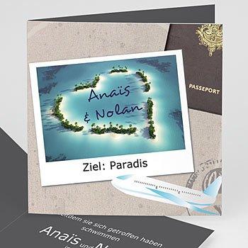 Einladungskarten Hochzeit  - Hochzeitskarte Urlaubsreise - 1