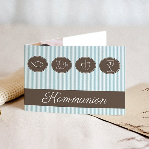Einladungskarten Kommunion Jungen - Kelch, Fisch, Kreuz & Taube 16994