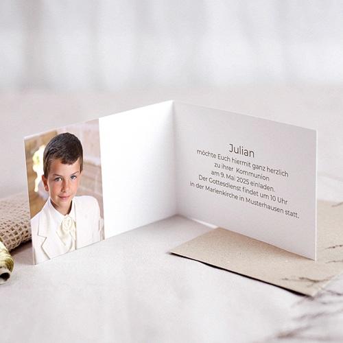 Einladungskarten Kommunion Jungen Kelch, Fisch, Kreuz & Taube pas cher