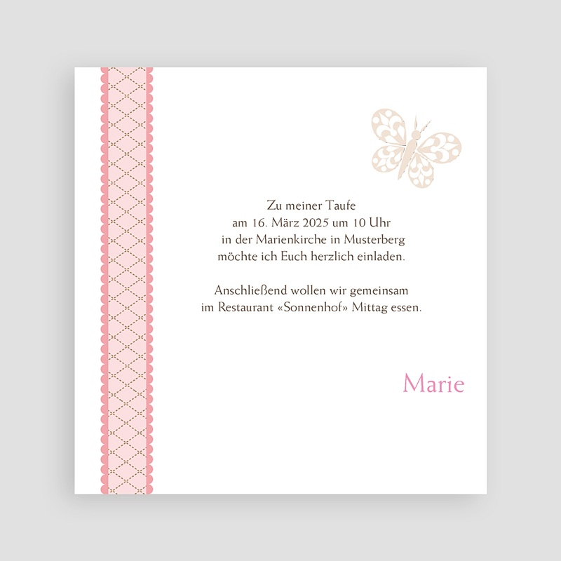 Einladungskarten Taufe für Mädchen Zenta pas cher