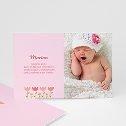 Dankeskarten Geburt Mädchen Tulpen