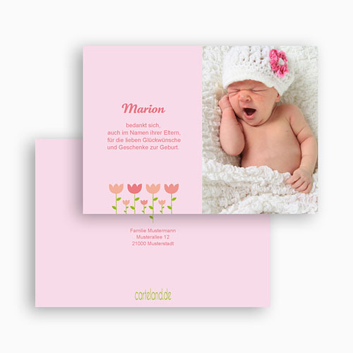 Dankeskarten Geburt Mädchen - Tulpen 17123 thumb
