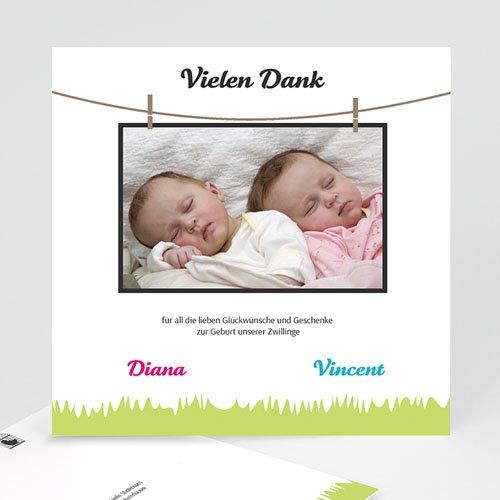 Dankeskarten Geburt für Mädchen Grüne Wiese