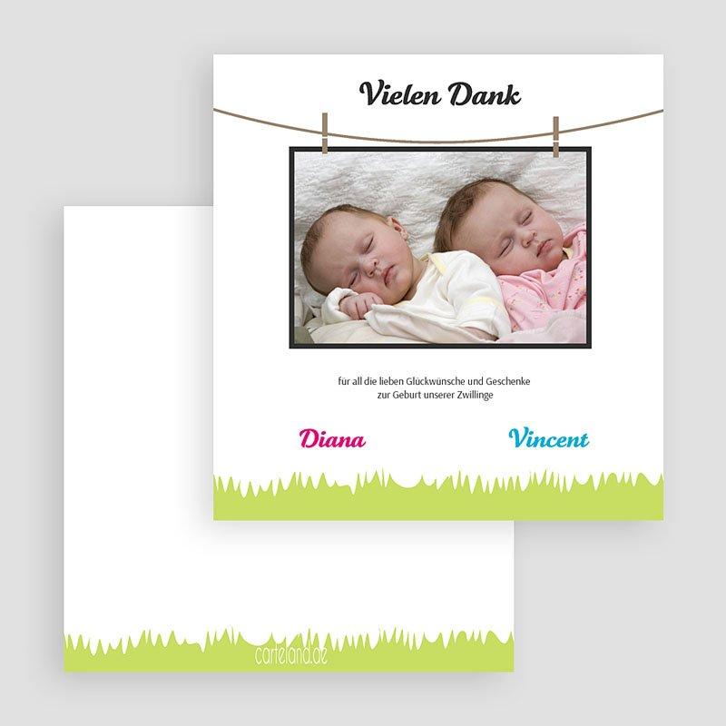 Dankeskarten Geburt für Mädchen Grüne Wiese gratuit