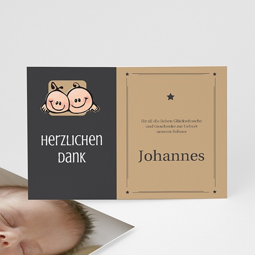 Dankeskarten Geburt Mädchen - Zwillingssterne 17128