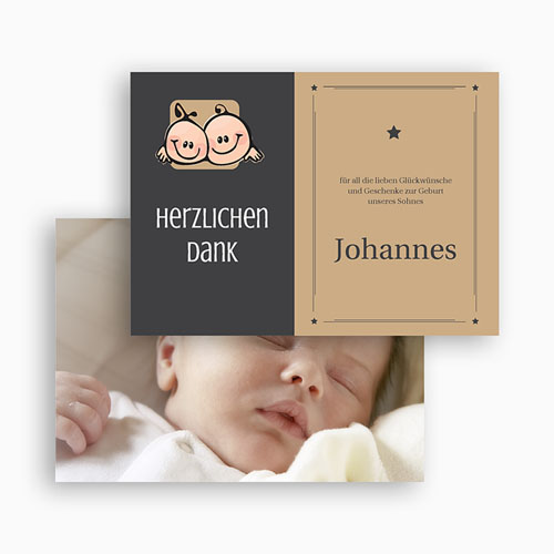 Dankeskarten Geburt Mädchen - Zwillingssterne 17130 preview