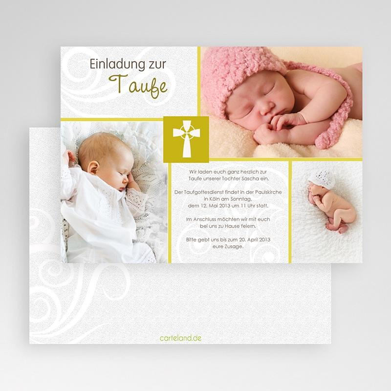 Einladungskarten Taufe für Mädchen Modern-Grün gratuit