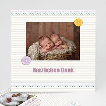 Dankeskarten Geburt Zwillinge - Geburtskarte für Zwillinge - 1