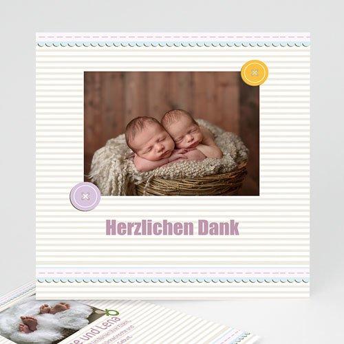 Dankeskarten Geburt Mädchen - Geburtskarte für Zwillinge 17357
