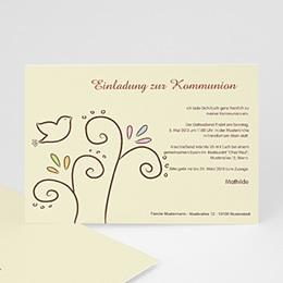 Einladungskarten Kommunion Mädchen - Einladungskarte Taube - 1
