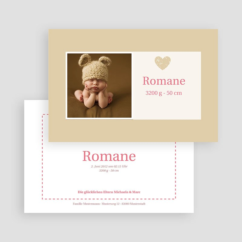 Geburtskarten für Mädchen Rosendesign gratuit