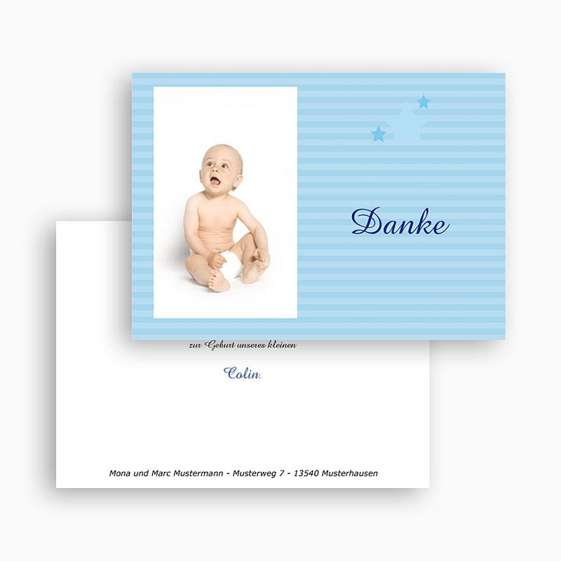 Dankeskarten Geburt Jungen - Kleiner blauer Stern 17895 thumb