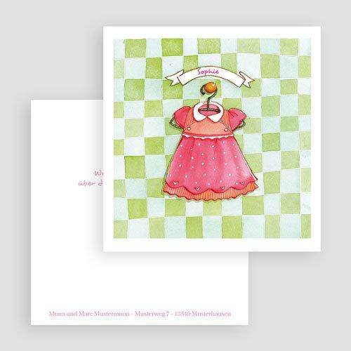 Geburtskarten für Mädchen Kleidchen gratuit