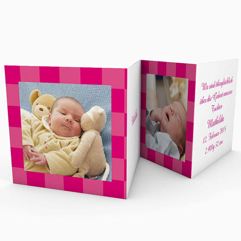 Geburtskarten für Mädchen - Karodesign Rot 18385 thumb