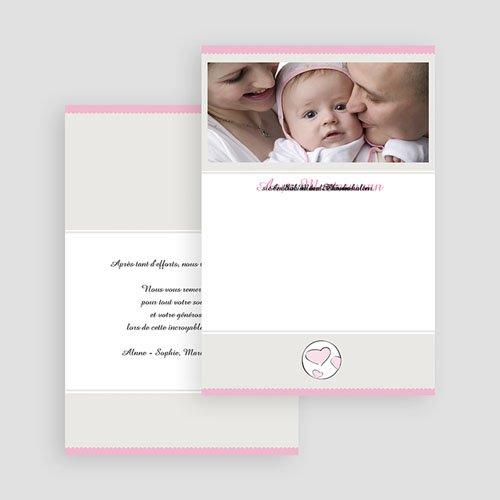 Adoptionskarten für Mädchen Zartrosa und grau gratuit