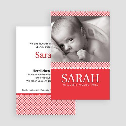Geburtskarten für Mädchen Vichy Motiv gratuit
