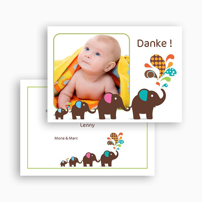 Dankeskarten Geburt Jungen - Elefant 19010 thumb