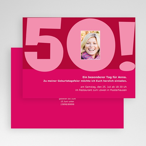 Erwachsener Einladungskarten Geburtstag 50 Jahre rosa gratuit