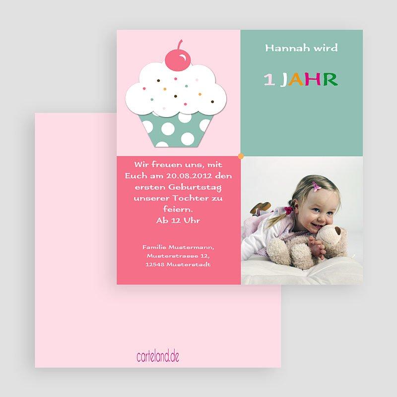 Einladungskarten Geburtstag Mädchen Cupcake mit Kirsche gratuit