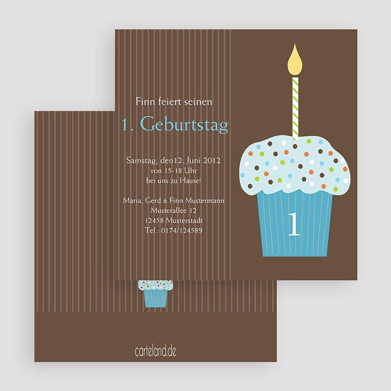 Einladungskarten Geburtstag Jungen Cupcake blau gratuit