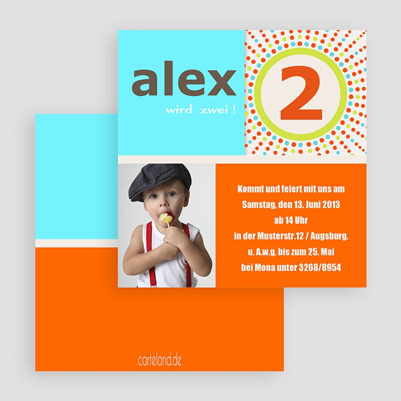 Einladungskarten Geburtstag Jungen Türkis Orange gratuit